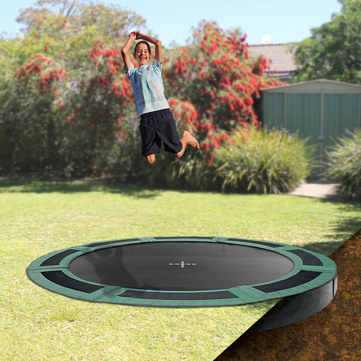 10ft Round Inground Trampoline With Enclosure