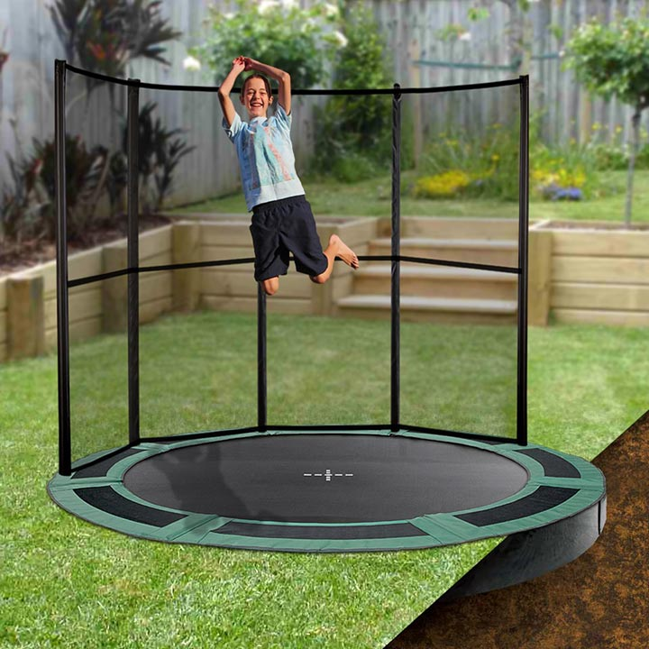 10ft Round Inground Trampoline With Half Enclosure