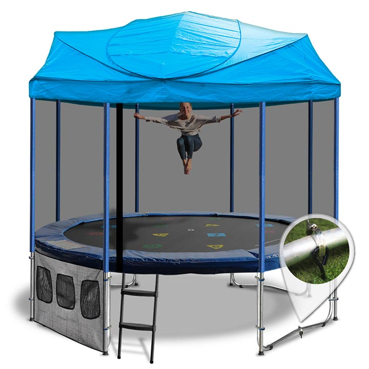 10ft Trampoline With A Blue Roof