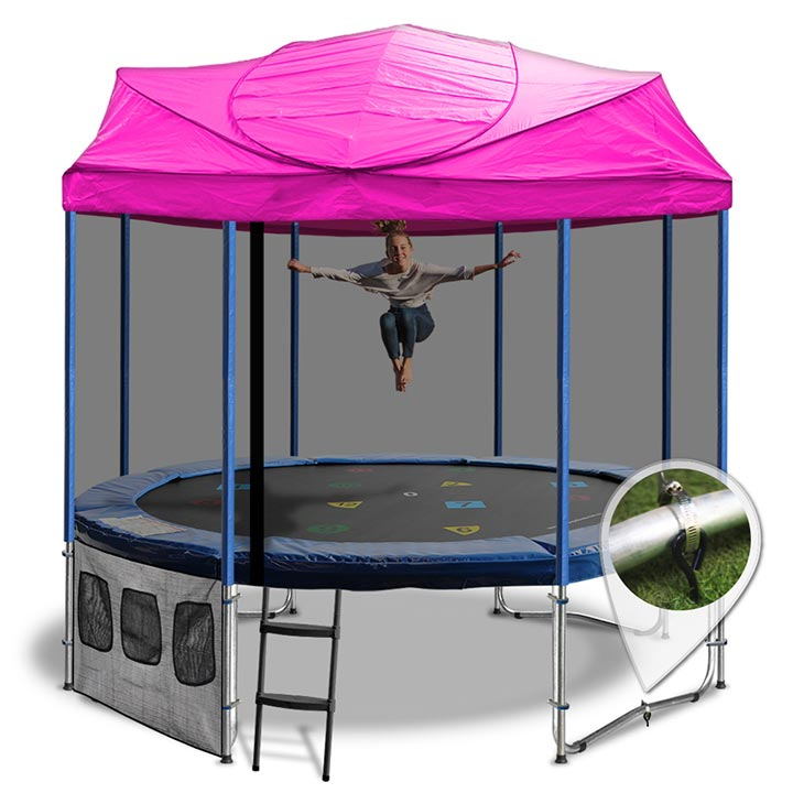 10ft Trampoline With A Pink Roof
