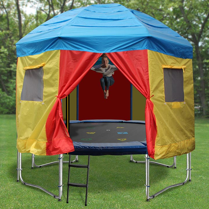 10ft Trampoline With Trampoline Tent Cover Circus Design