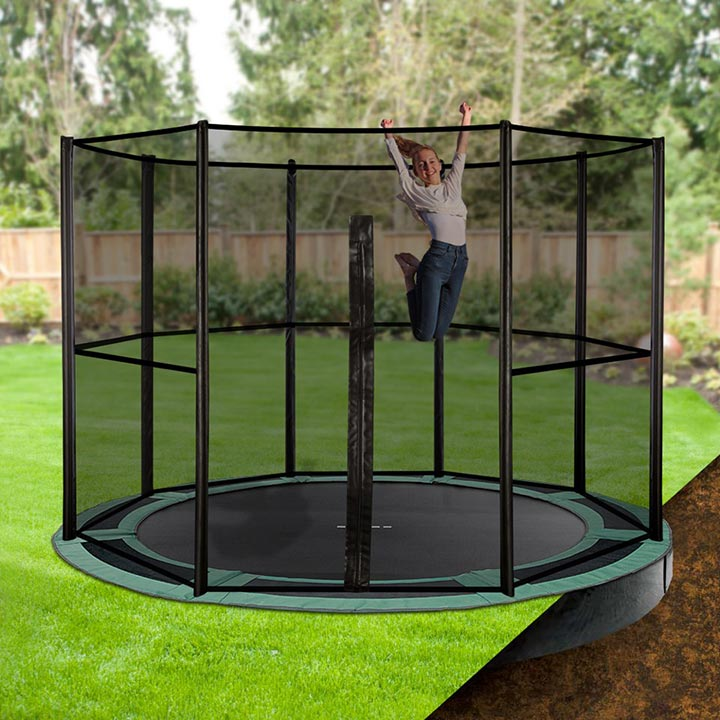12ft round inground trampoline with enclosure. Black Bedroom Furniture Sets. Home Design Ideas