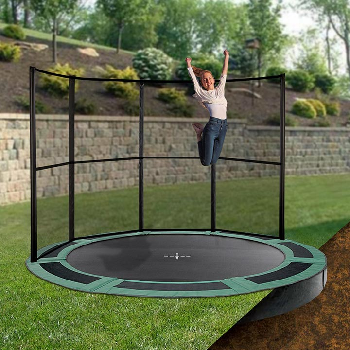 12ft round inground trampoline with half enclosure. Black Bedroom Furniture Sets. Home Design Ideas
