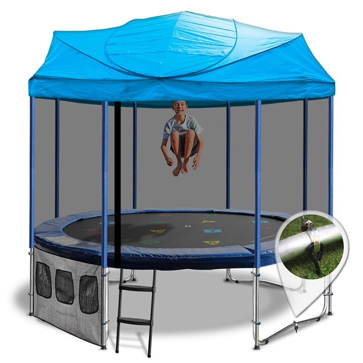 12ft Trampoline With A Blue Roof