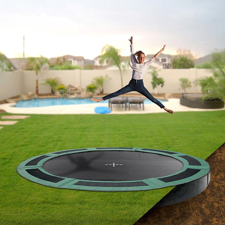 14ft Round Inground Trampoline With Enclosure