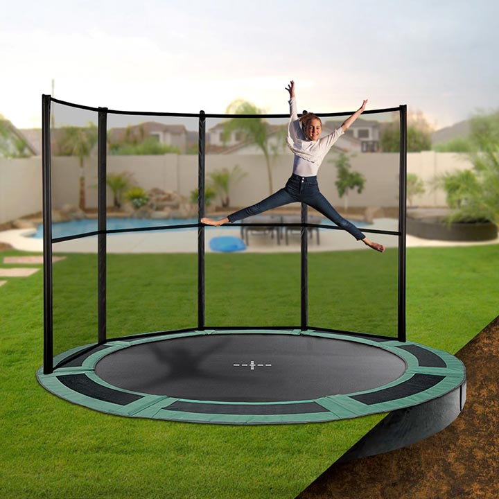 14ft Round Inground Trampoline With Half Enclosure