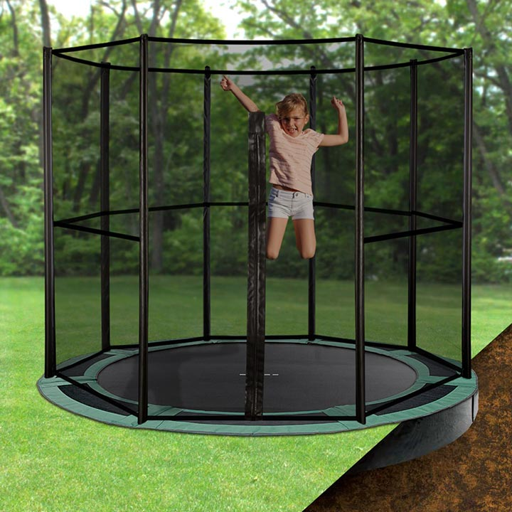 8ft Round Inground Trampoline With Enclosure
