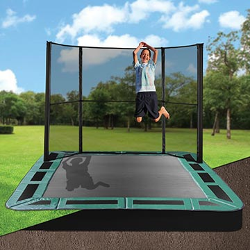 In ground trampolines oz trampolines for Trampoline piscine